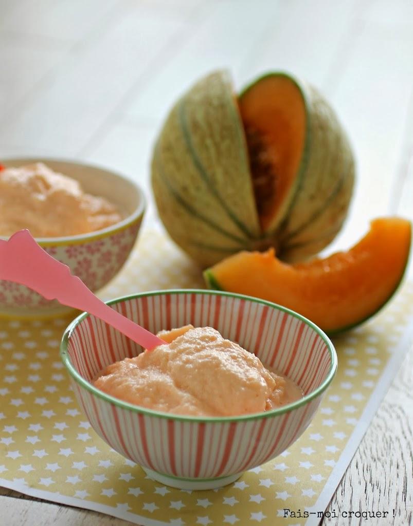 Glace au melon light sans sorbeti re fais moi croquer - Glace au melon avec sorbetiere ...