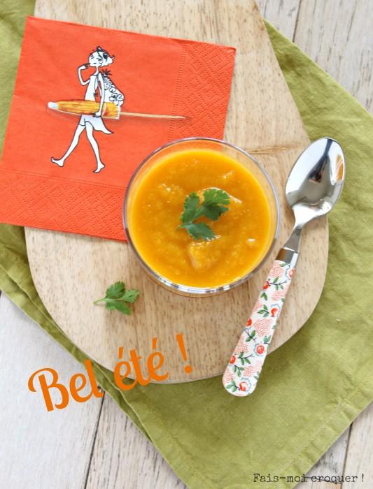 Soupe froide de carottes, coco et lentilles corail