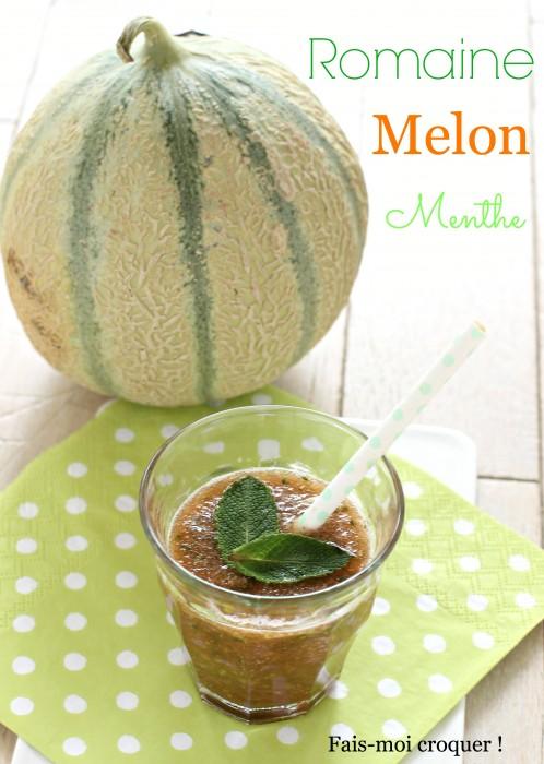Smoothie romaine, melon et menthe fraîche