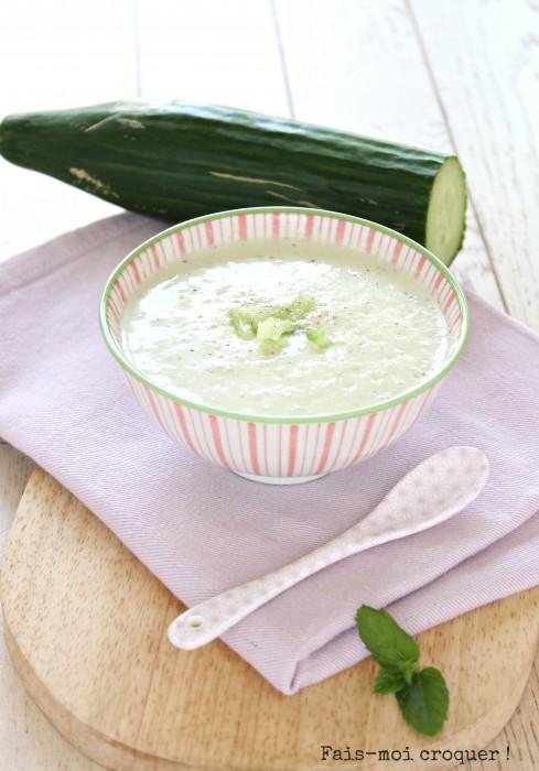 Soupe froide de concombre et de menthe