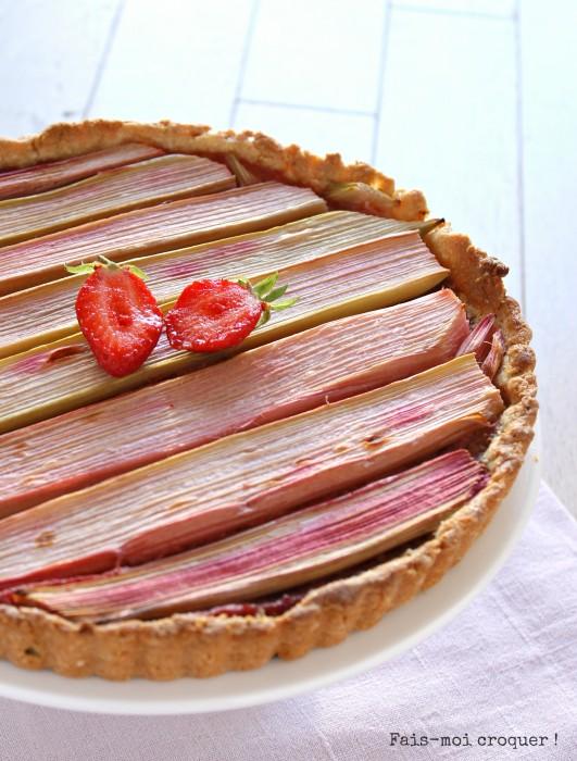 Tarte à la rhubarbe et fraise sans gluten