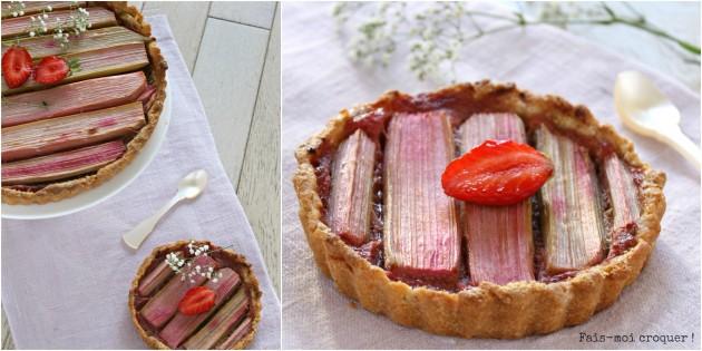 Tarte à la rhubarbe, fraise, pomme et fleur d'oranger