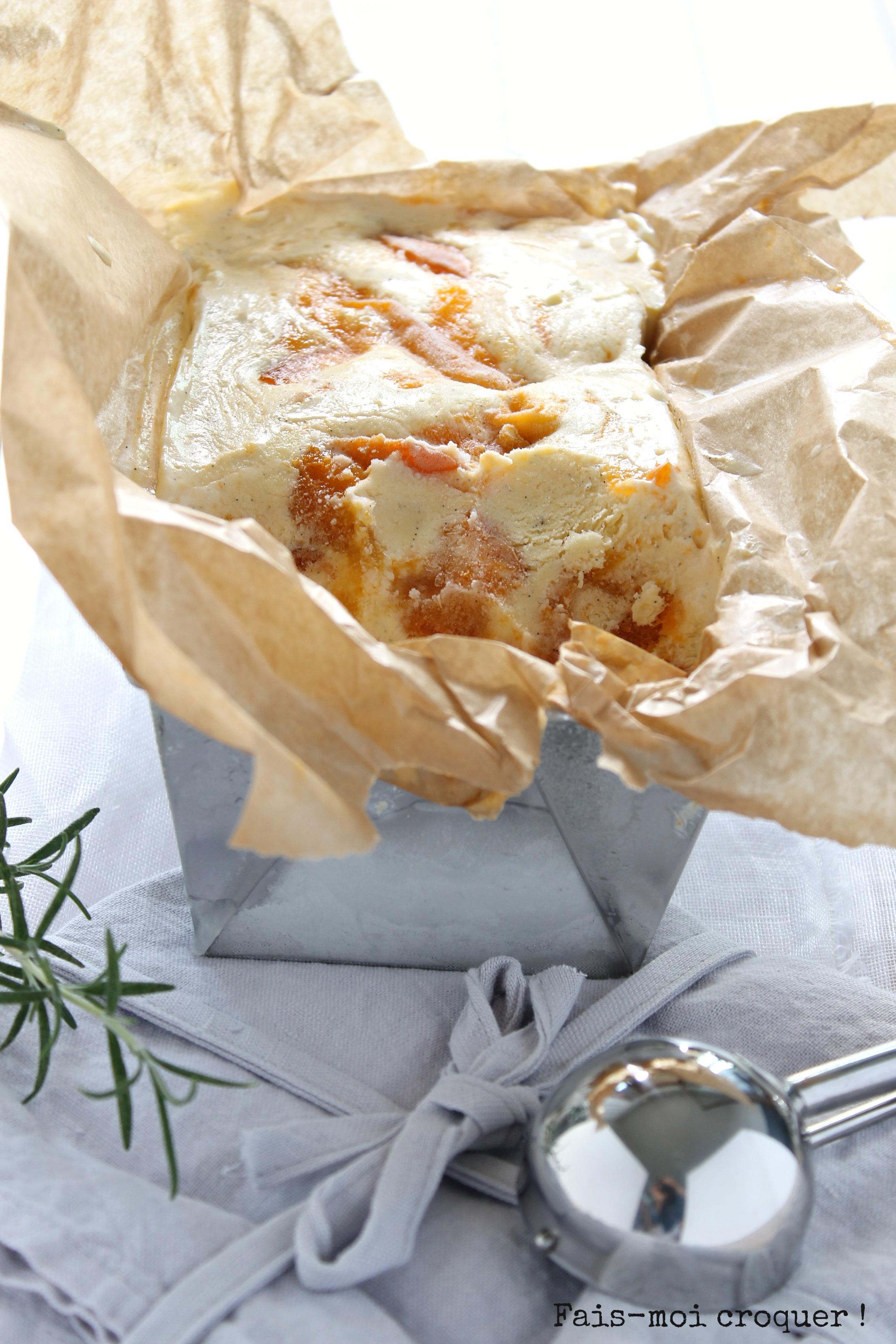 Glace mascarpone romarin et abricot