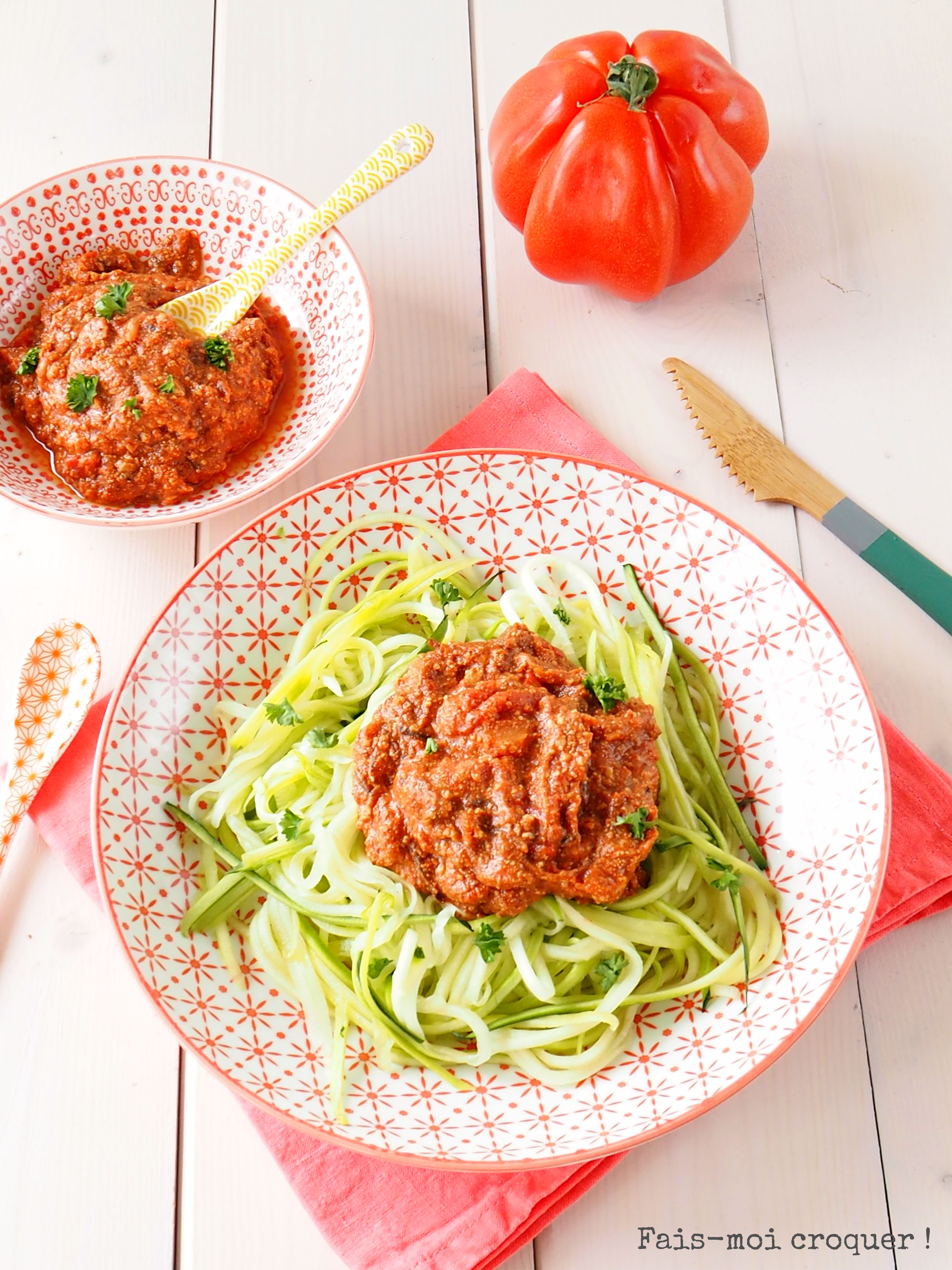 spaghetti de courgette et bolognaise vegan