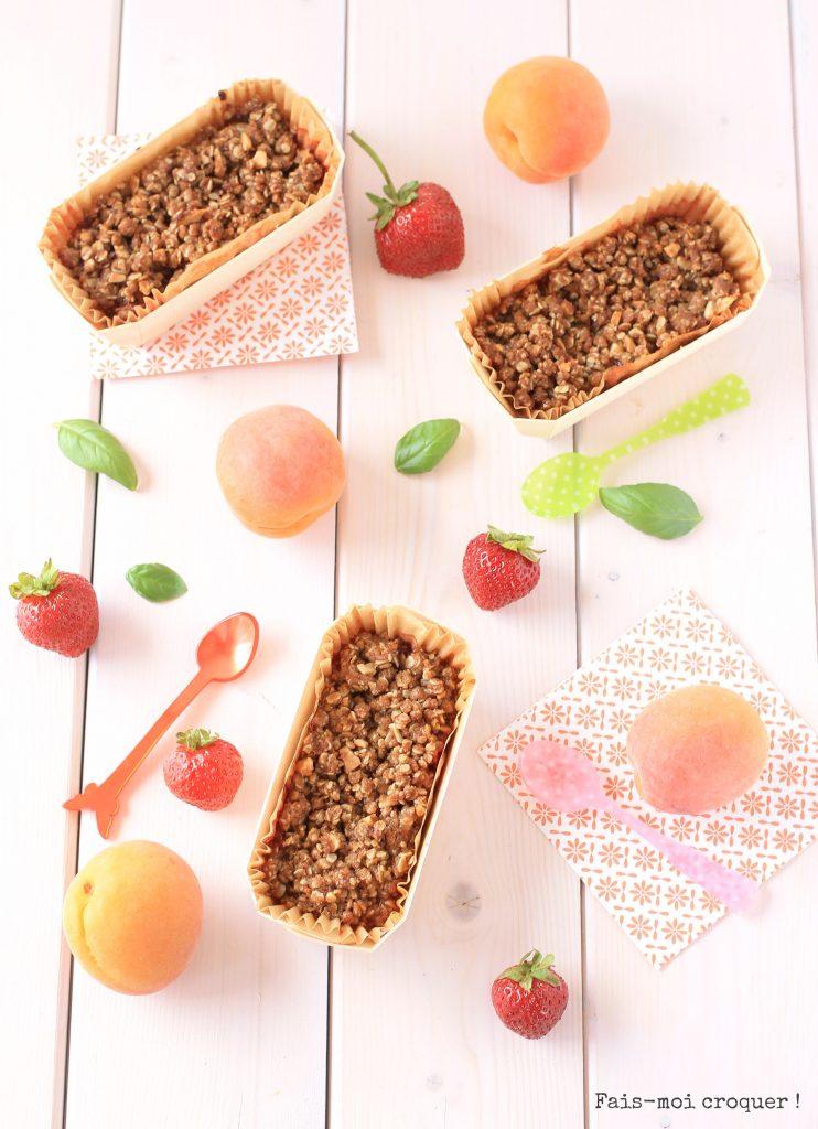 Crumble abricot fraise basilic