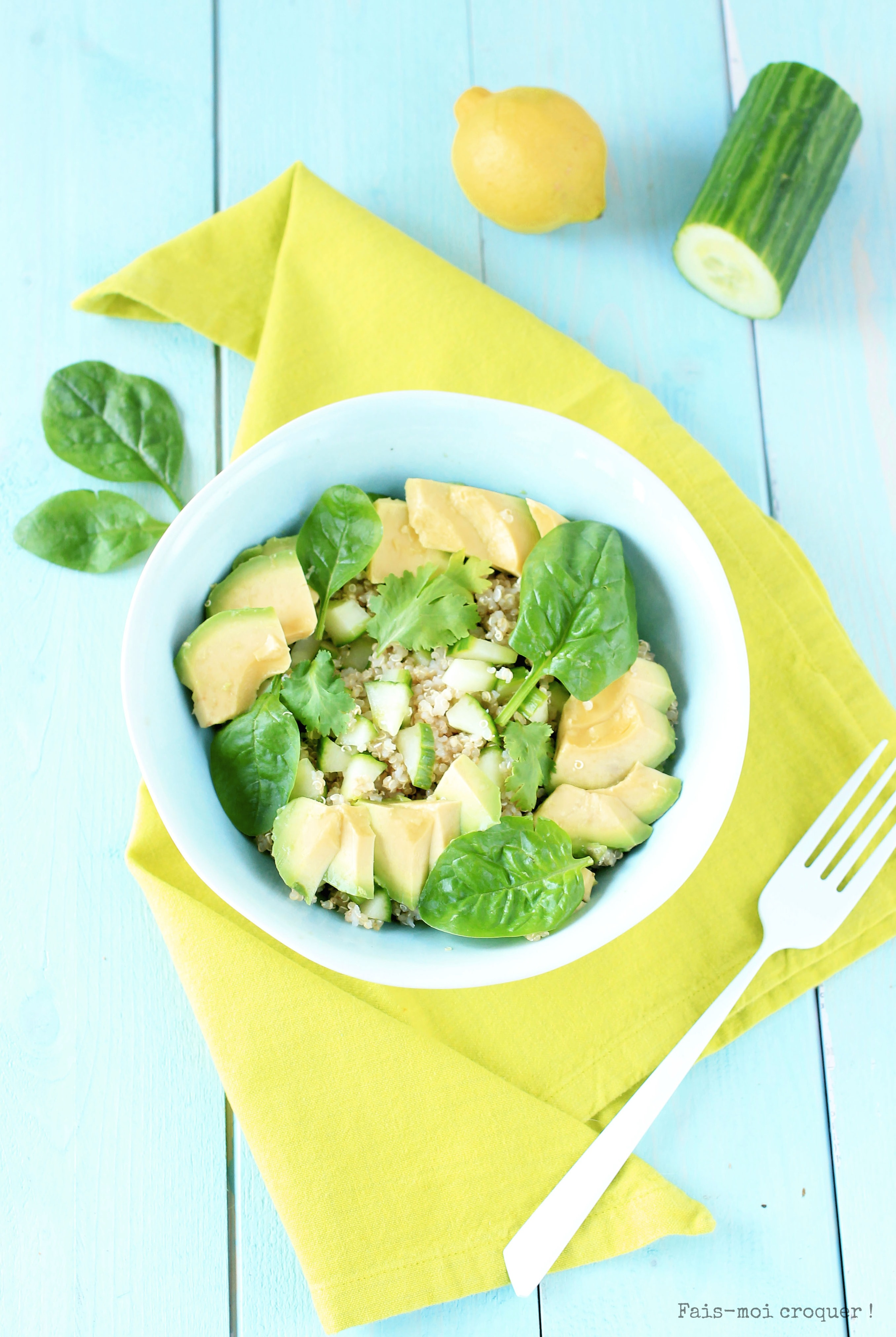 salade printemps green quinoa avocat