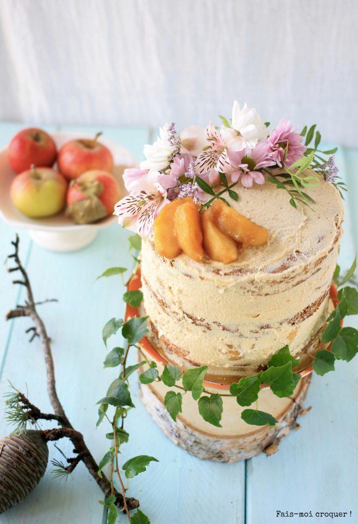 naked cake aux pommes caramélisées