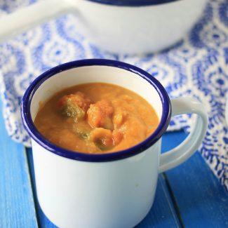 Soupe poireaux coco patate douce