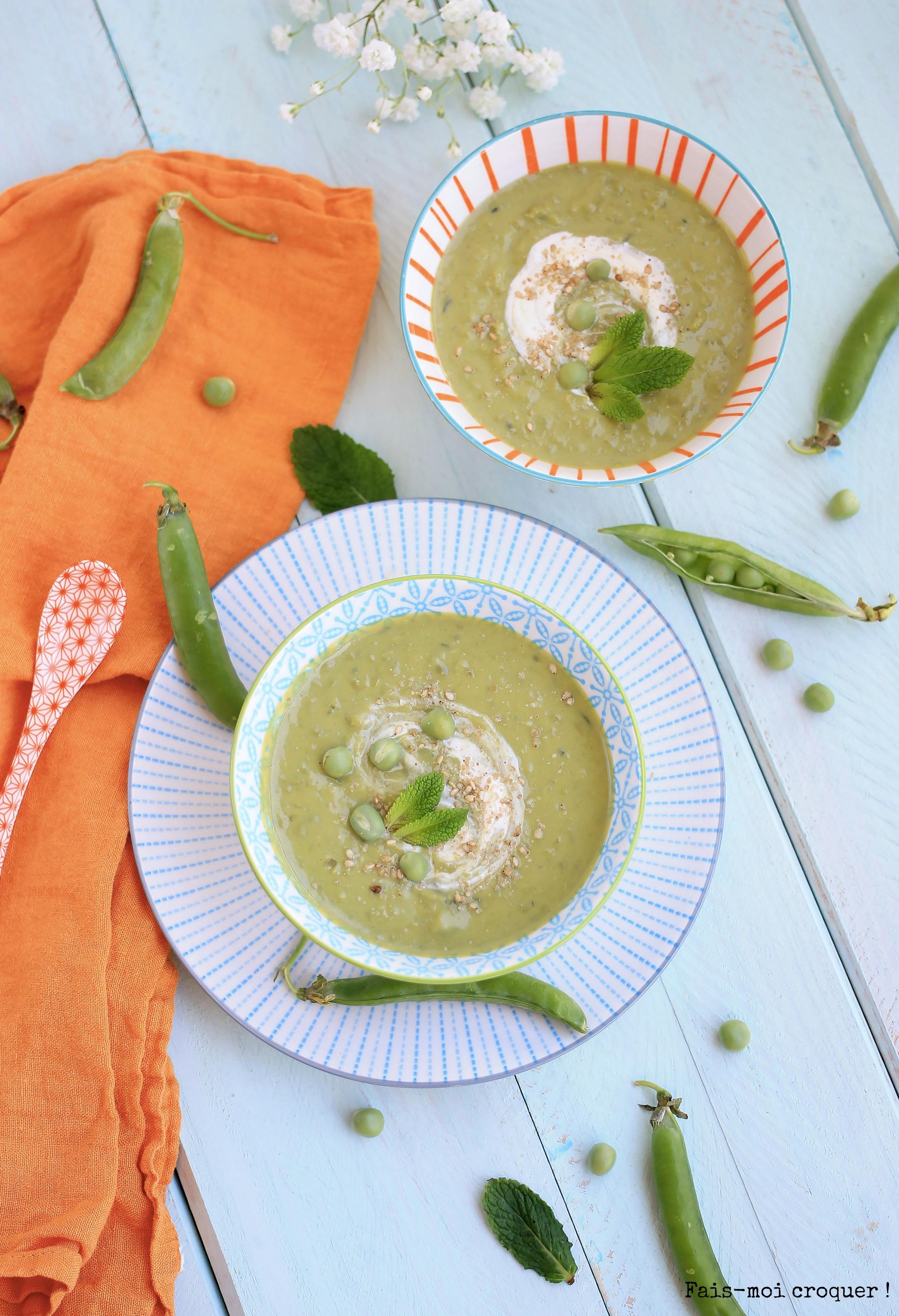 soupe petits pois menthe vegan