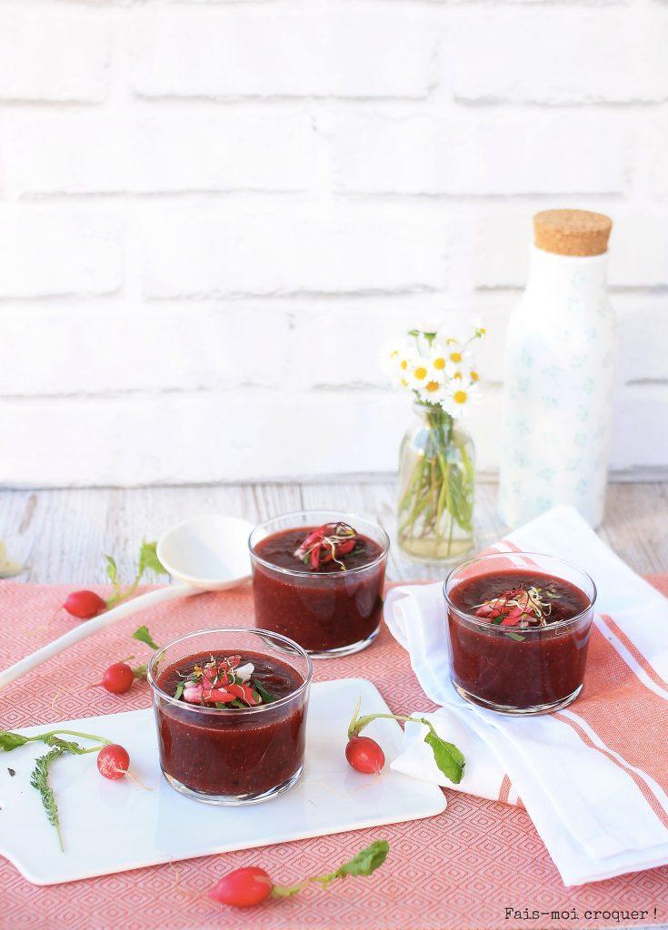 Gaspacho de Betterave, radis et concombre